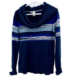 DKNY Jeans 100% Cotton Striped Cowl Neck Sweater L